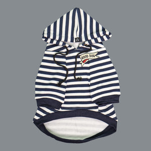 Navy and white stripe dog hoodie, striped dog hoodie by Pethaus, rockabilly dog hoodie