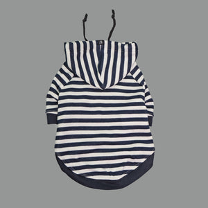 Navy and white striped dog hoodie - Australian designer dog hoodie by Pethaus