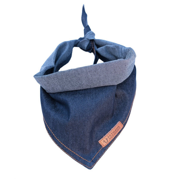 Denim Dog Bandana, designer dog bandana, cool dog bandana, blue dog bandana, pethaus