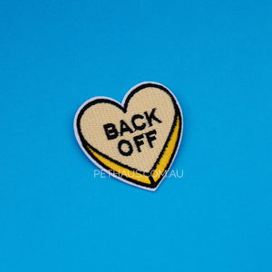 Back off heart patch, yellow heart patch