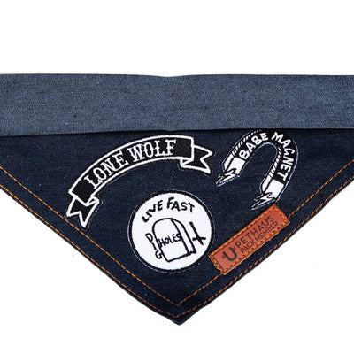 Patched denim dog bandana by Pethaus