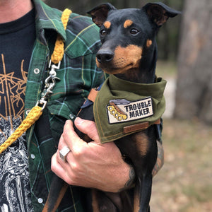 army green dog bandana, pethaus, green dog bandana, designer dog bandana, dog gift, dog bandana patches, australian dog bandana