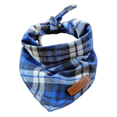 Blue flannel dog bandana, check dog bandana, blue dog bandana, dog gift, check dog bandana, plaid dog bandana, dog bandana australia, pethaus