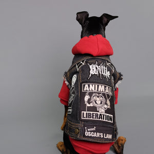Heavy Metal dog, denim dog vest, red dog hoodie, by Pethaus