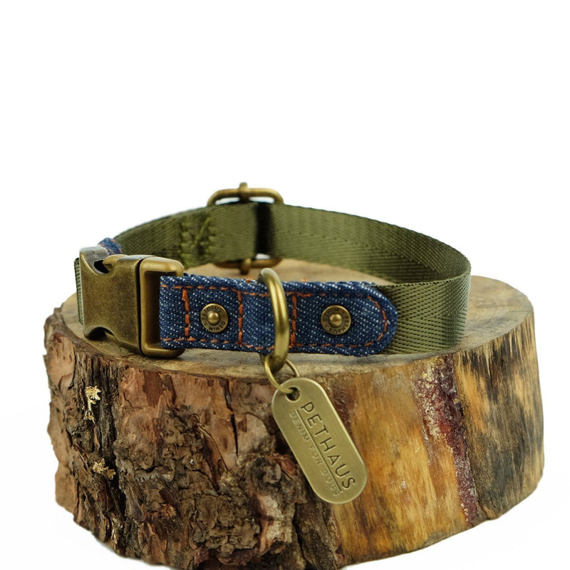 Denim Daze Olive Dog Collar