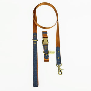 denim dog collar, tan dog collar, quick release dog collar, nylon webbing dog collar, cool dog collar, Pethaus, Australian dog collar, Dog collar and leash set