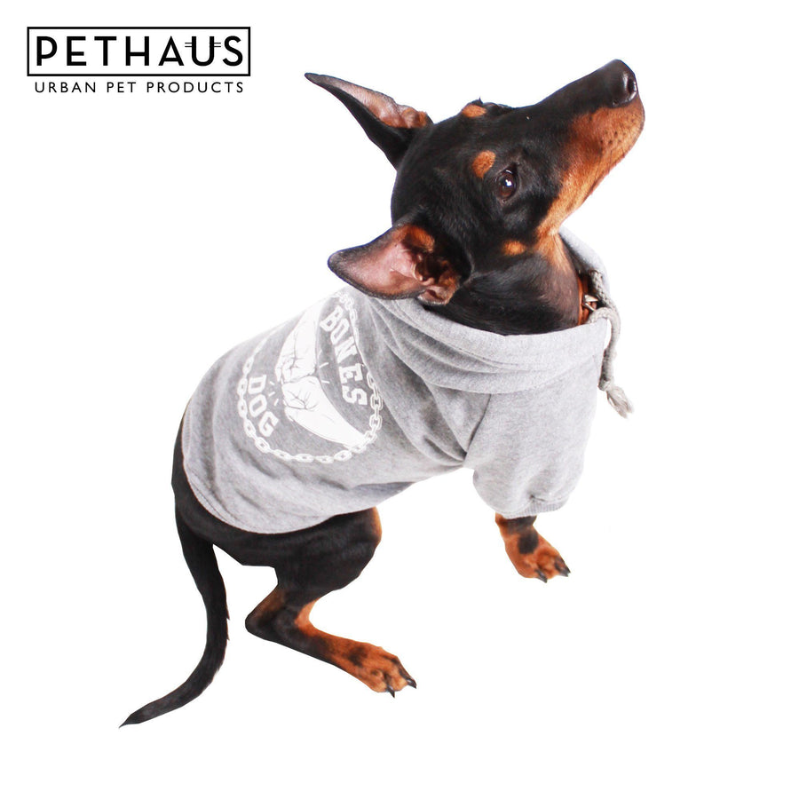 Dog Clothing - Bones Dog Hoodie - Grey Marle, grey dog hoodie, bones dog hoodie, australian made dog hoodie, printed dog hoodie, dog sweatshirt, pethaus, dog coat
