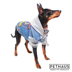 Dog Clothing - Bones Dog Hoodie - Grey Marle
