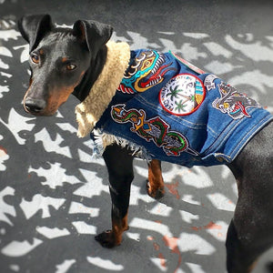 Denim dog vest with patches by Pethaus