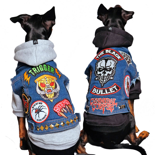 Denim dog vest, denim dog jacket, heavy metal dog clothing, Dog coat, Dog denim