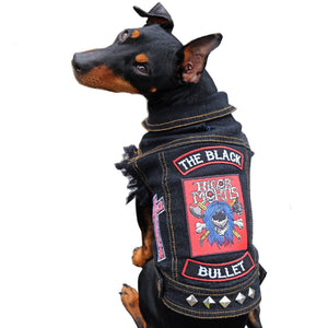 denim dog vest, battle jacket for dog, custom dog vest