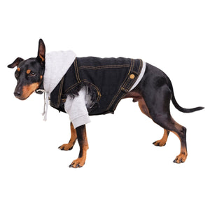 Black denim dog vest by Pethaus