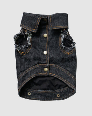 denim dog coat, pethaus, dog jacket, denim dog vest, black denim dog vest, dog gift, cool dog coat