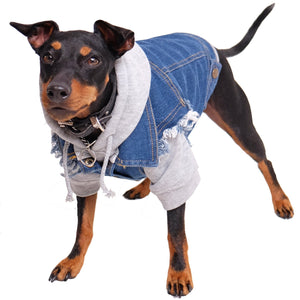 Denim dog jacket, denim dog vest, dog hoodie, pethaus