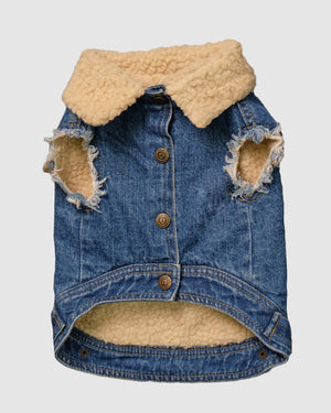Layer Up! - Sherpa Denim dog vest + Dog Hoodie Set