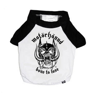 Motorhound dog tee, heavy metal dog tee, raglan dog tee, band tee for dog, motorhound,
