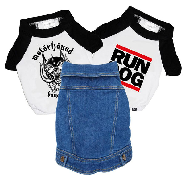 Denim dog vest, Heavy metal dog clothing