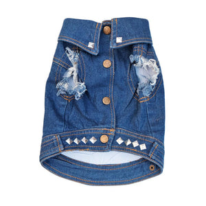 Denim dog vest with studs by Pethaus
