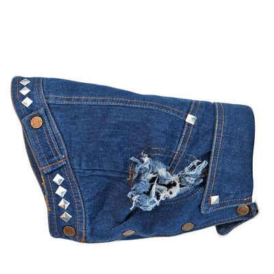 Denim dog coat with studs by Pethaus Australia