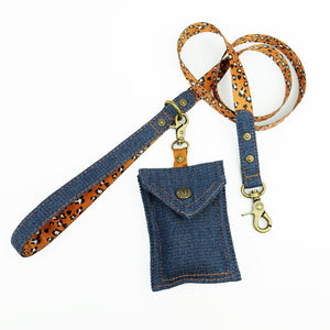 denim dog leash, denim dog lead, leopard print dog leash, designer dog leash, Australian dog leash, Pethaus, nylon webbing dog leash, cool dog leash,denim dog poop bag holder