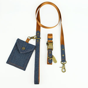 denim dog lead, denim dog leash, tan dog leash, design dog leash, Australia dog leash, Pethaus, cool dog leash, denim poop bag holder