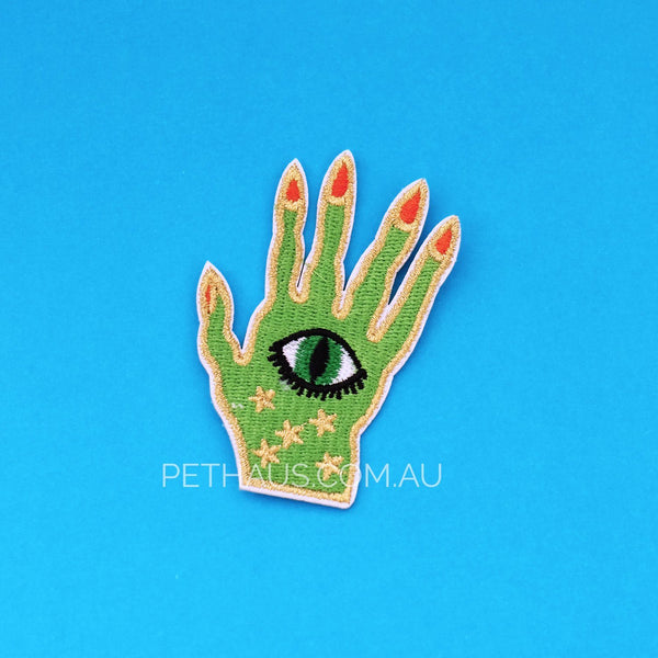 Mystic hand patch, witch patch, cool patch, embroidered patch.