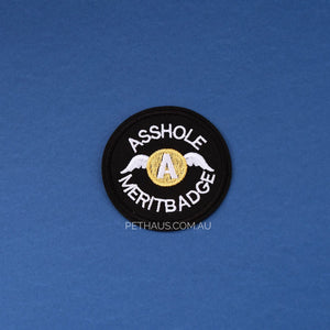 asshole merit badge embroidered patch, cool patch, asshole patch