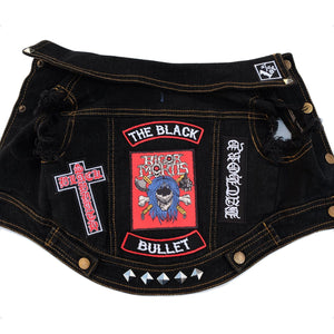 Denim dog vest custom rocker patches Heavy metal patches