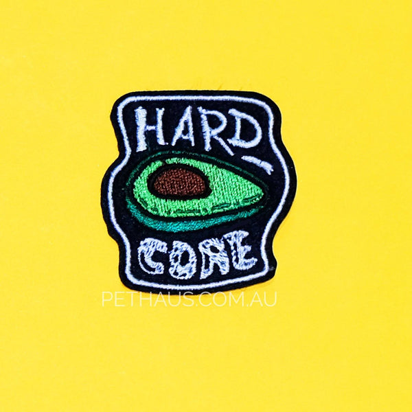 Avocado patch, hardcore patch, cool patch, dog patch, denim dog vest