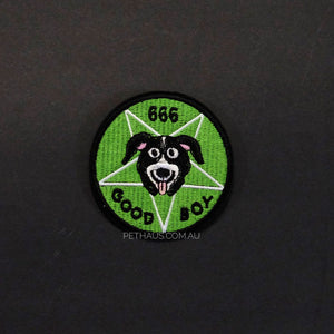 Mr Pickles patch, good boy patch, 666 patch,