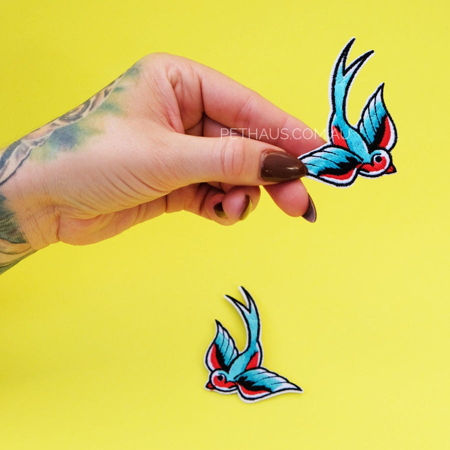 swallow patch, bird patch, tattoo swallow patch, rockabilly patch