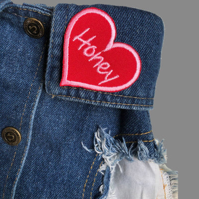 heart patch, personalised heart patch, embroidered heart patch, custom embroidered patch, sweetheart patch, black heart patch, red heart patch