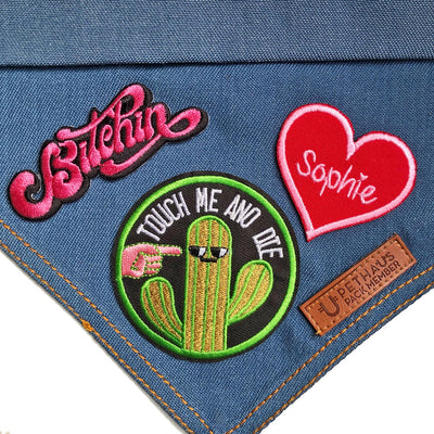 heart patch, personalised heart patch, embroidered heart patch, custom embroidered patch, sweetheart patch, black heart patch, red heart patch, dog bandana with patches