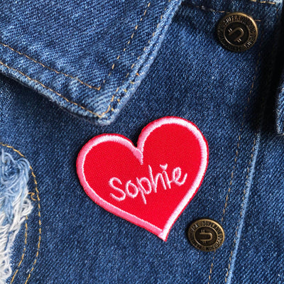 heart patch, personalised heart patch, embroidered heart patch, custom embroidered patch, sweetheart patch, black heart patch, red heart patch,