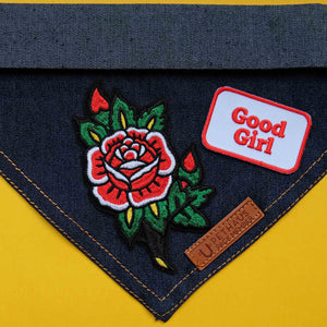 Rose patch, tattoo rose, embroidered rose patch, rockabilly patch, patch for dog, pethaus, BLC Patches