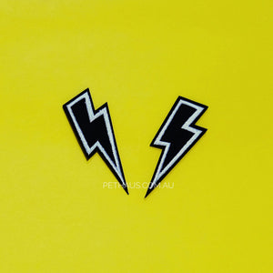 lightning bolt patch, cool patch, dog patch, black bolt patch