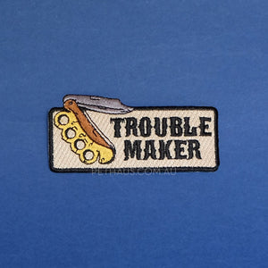 trouble maker patch, switchblade patch, pethaus, dog patch, Tattoo style patch, knife patch