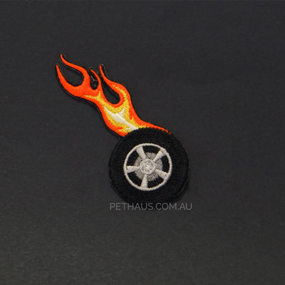 wheels of fire patch, tire on fire patch, fire patch, bandana patch, Pethaus, patch for dog,
