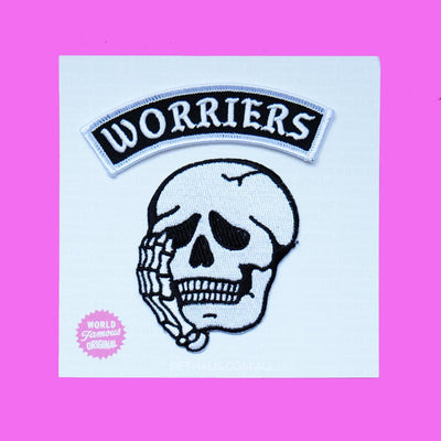 world famous original, worriers patch, worriers patch set, back patch, skull patch, pethaus
