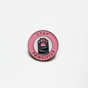 Stay pawsitive pin, enamel pin, Pethaus, dog lover gift,