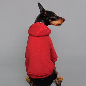 Red dog hoodie by Pethaus Rock dog clothing