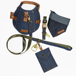 denim dog harness, denim dog collar, denim dog leash, dog collar and leash set, pethaus, designer dog harness, designer dog collar, designer dog leash, Australian dog harness, Australian dog collar, Australian dog leash, denim dog poop bag holder,dog tag