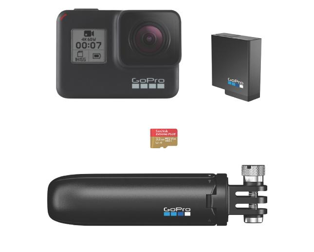 GOPRO HERO7 BLACK PROMO 2019 BUNDLE HER7+SHORTY+BAT+32GB SD
