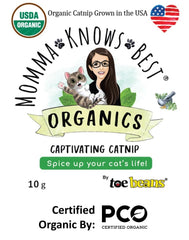 USDA Certified Organic Catnip Product Label by Momma Knows Best