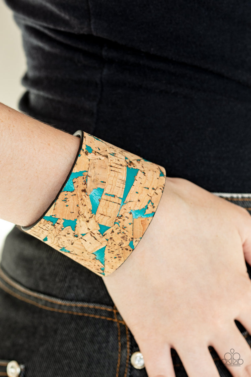 Cork Congo Paparazzi Blue and Cork Leather Wrap
