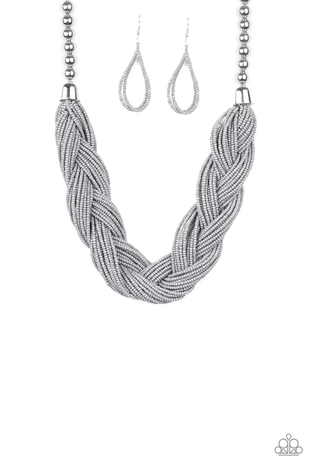 Braided necklace with silver beads