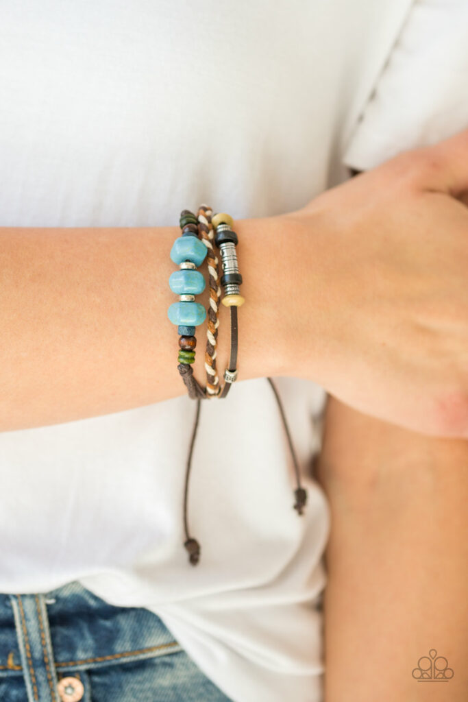 Catch Me CLIFF You Can - Paparazzi - Blue Turquoise Stone Wooden Bead Corded Bracelet