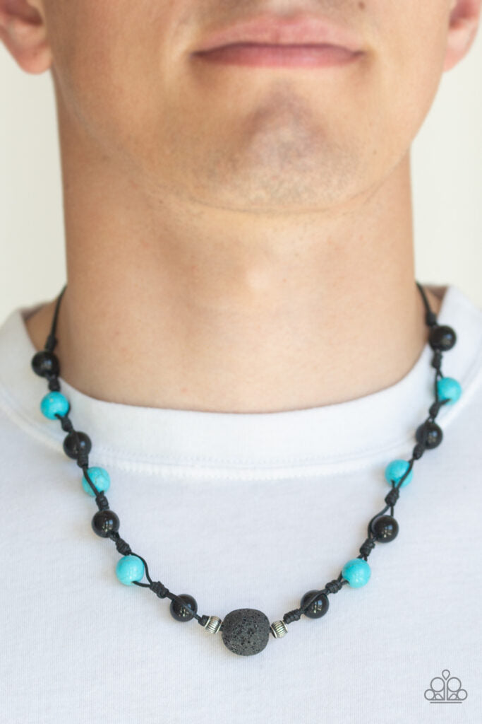 Desert Guide - Paparazzi - Blue Turquoise and Black Lava Bead Cording Urban Necklace