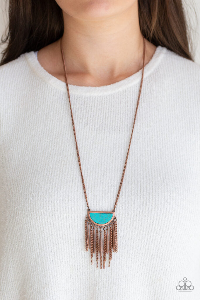 Desert Hustle - Paparazzi - Copper Half-moon Turquoise Stone Necklace