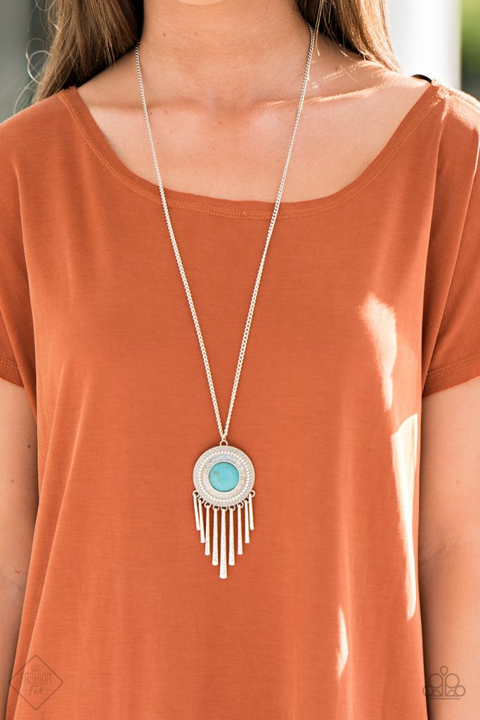 Paparazzi Bon Voyager - Blue Turquoise Stone Tribal Silver Disc Necklace